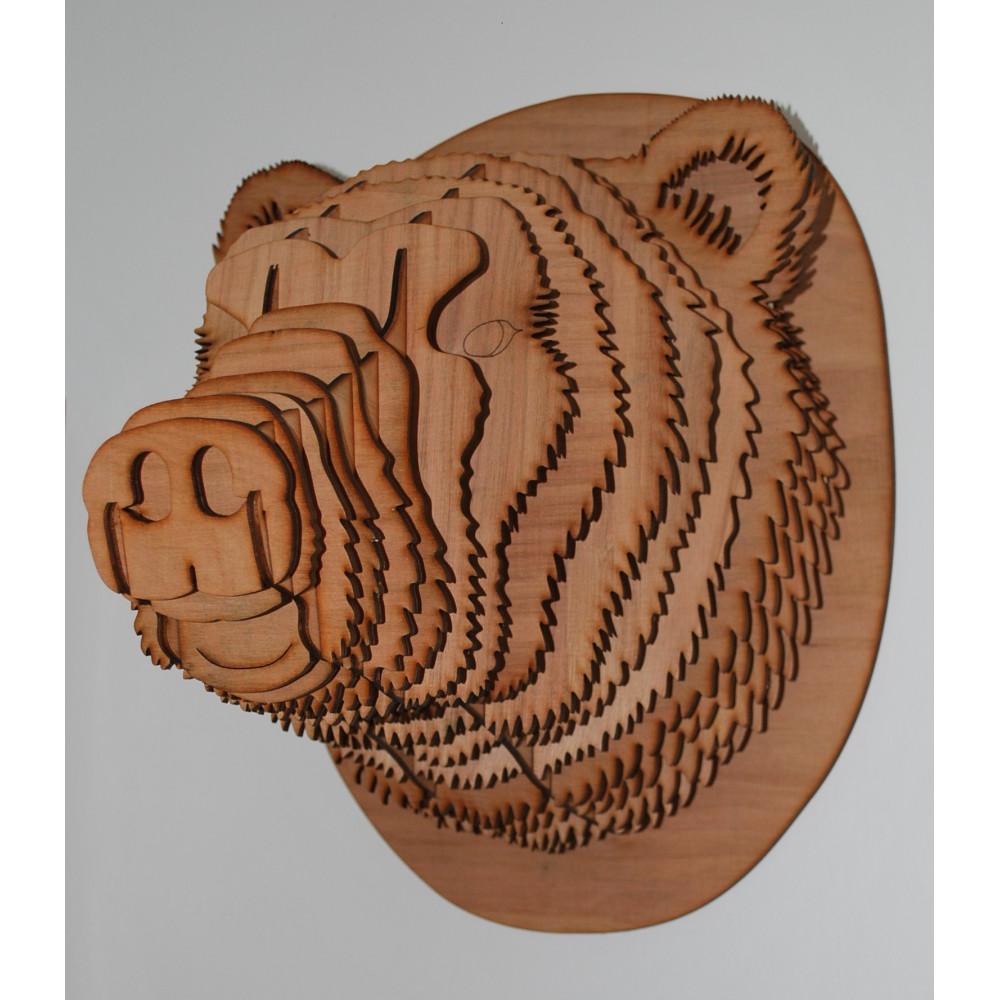 t te d ours en bois puzzle 3d magnifique sculpture d animaux en contreplaqu pour la. Black Bedroom Furniture Sets. Home Design Ideas