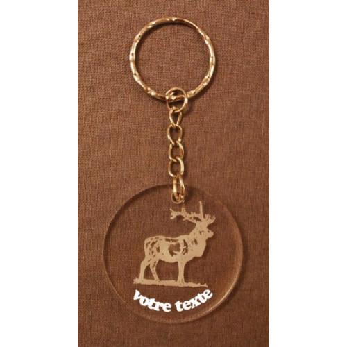 Porte-clefs personnalisable en verre synthétique motif cerf.