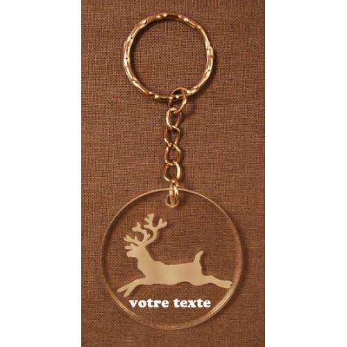 Porte-clefs personnalisable en verre synthétique motif renne noël nature.