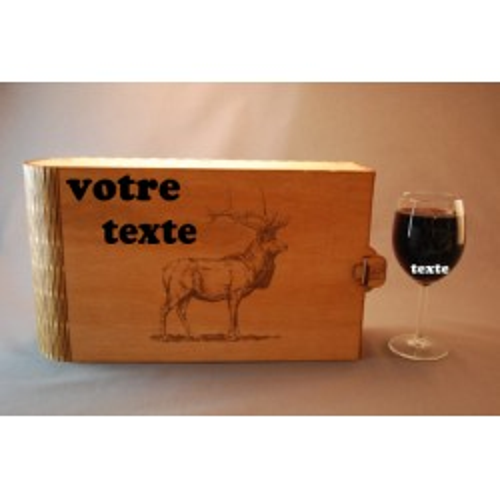 Coffret 6 verres à vin gravés cerf personnalisable