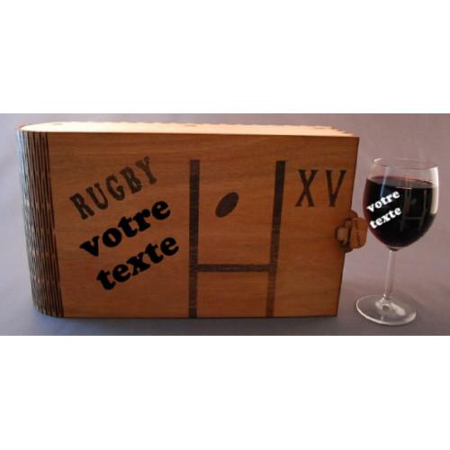 Coffret 6 verres à vin gravés rugby poteau  personnalisable