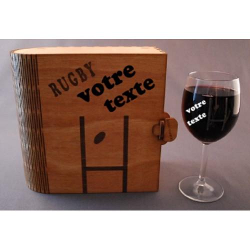 Coffret 2 verres à vin gravés poteau de rugby personnalisable