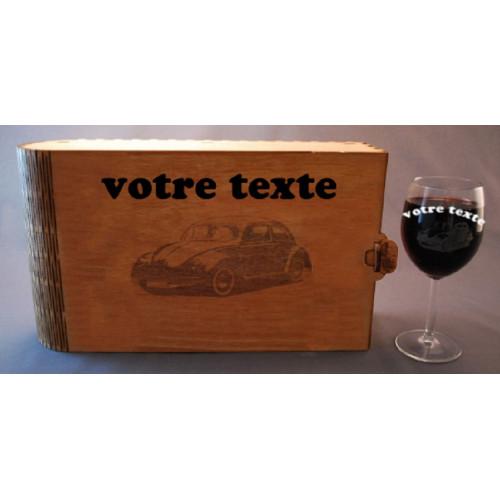 Coffret 6 verres à vin gravés vw voiture collection combi  personnalisable
