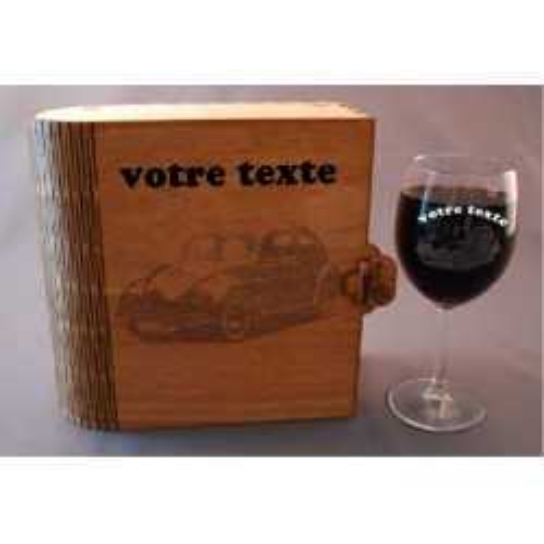 Coffret 2 verres à vin gravés vw voiture de collection combi personnalisable