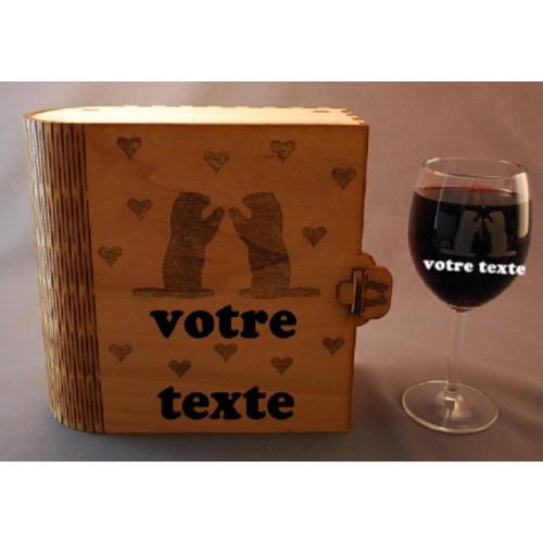 Coffret 2 verres à vin gravés marmote love amour montagne chalet neige personnalisable