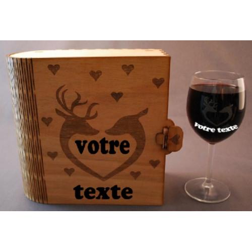 Coffret 2 verres à vin gravés cerf en coeur love amour personnalisable