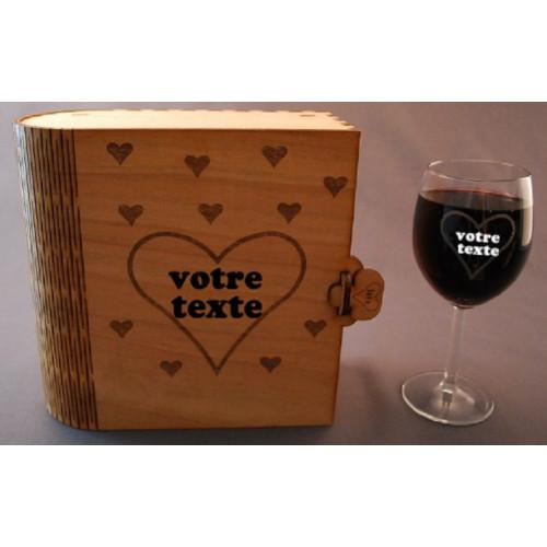 Coffret 2 verres à vin gravés coeur love amour personnalisable