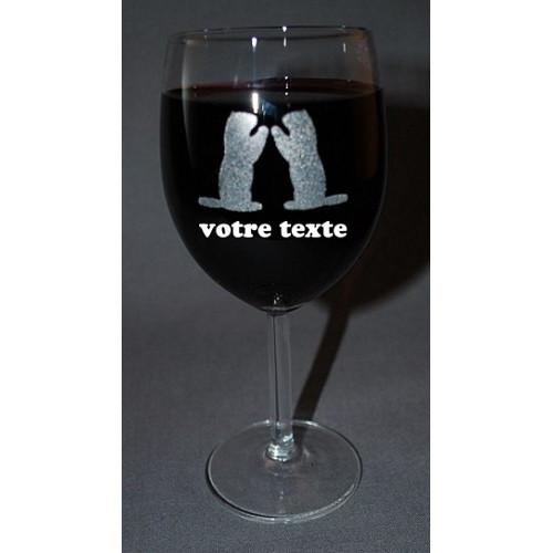 Verre à vin gravé motif marmotte love amour personnalisable.
