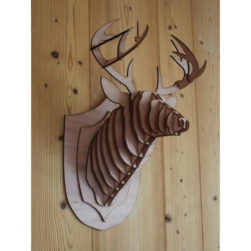 Tête de cerf en bois 40cm