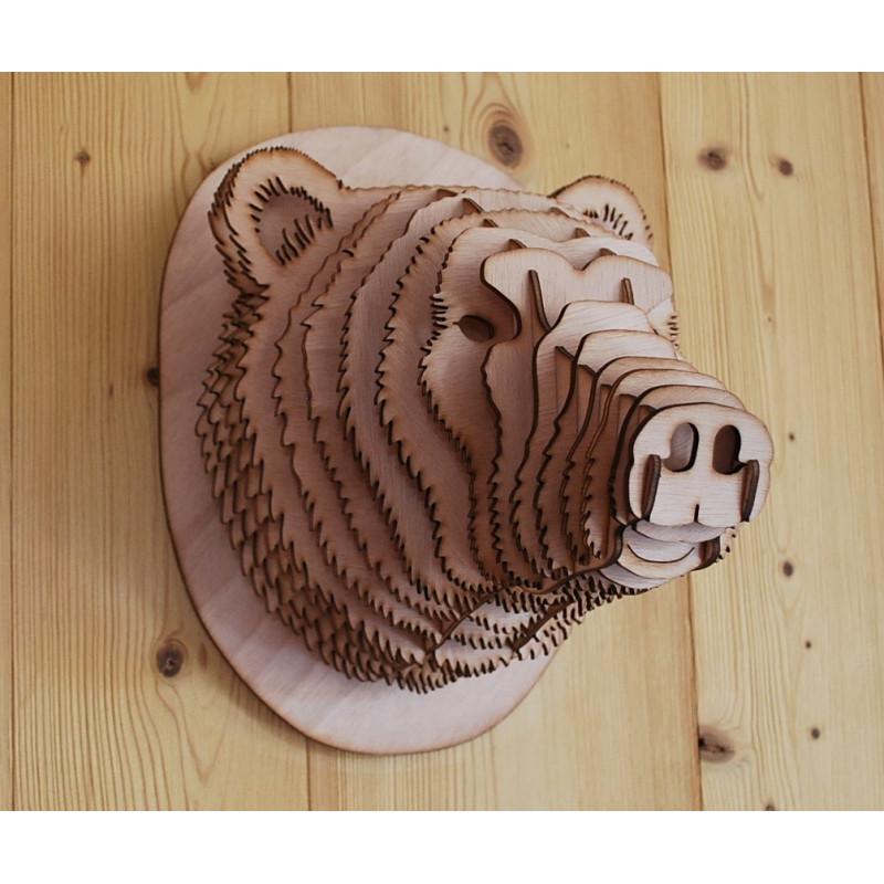 Tête d' ours en bois 30cm