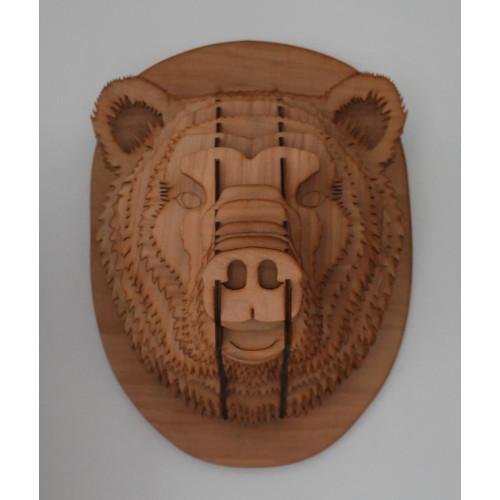 Testa di orso in legno 48 cm