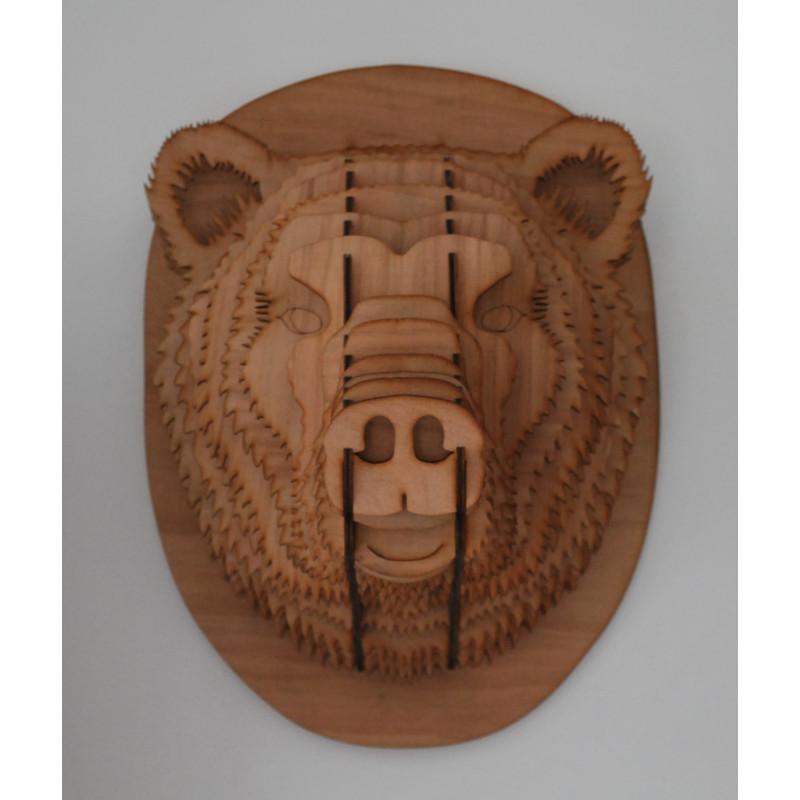 Wooden bear head 48 cm