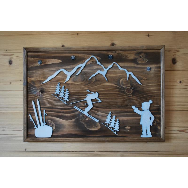 Tableau design en bois style chalet, hiver, montagne, ski.