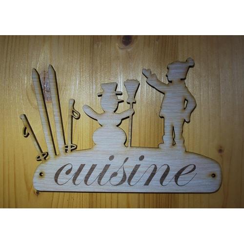 Plaque de porte, pancarte en bois gravée cuisine.