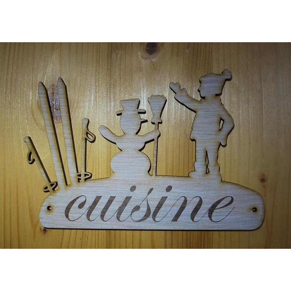 Plaque de porte pancarte en bois grav e cuisine - Porte de cuisine en bois ...