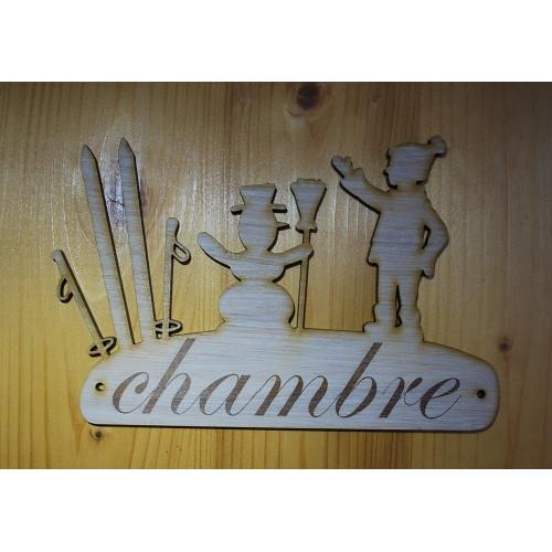 Plaque de porte, pancarte en bois gravée chambre.