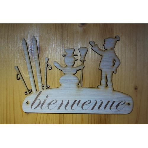 Plaque de porte, pancarte en bois gravée bienvenue.