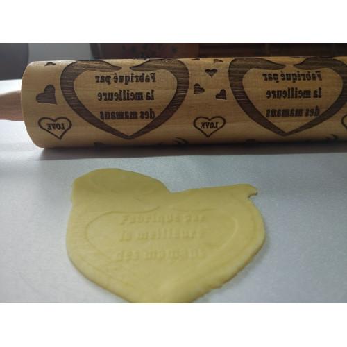 Rouleau à pâtisserie gravé au laser avec motif cerf flocon.