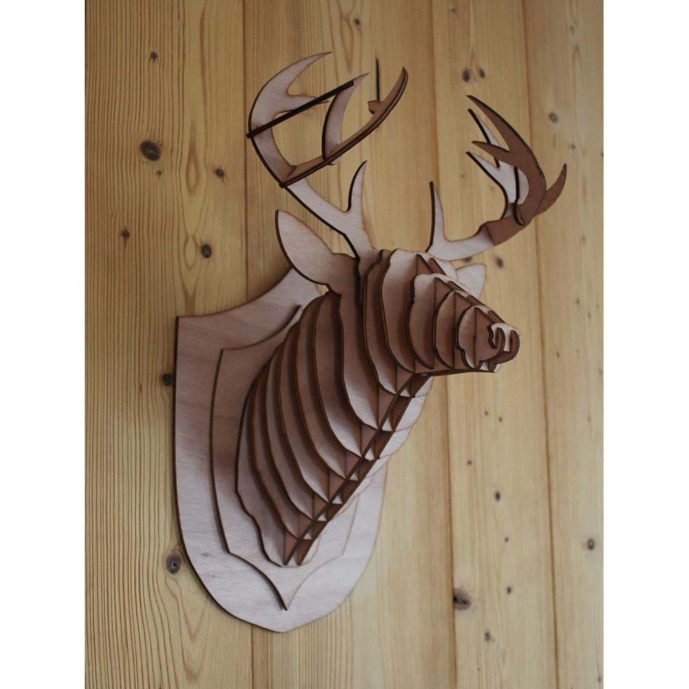 t te de cerf en bois puzzle 3d magnifique sculpture d animaux en contreplaqu pour la. Black Bedroom Furniture Sets. Home Design Ideas