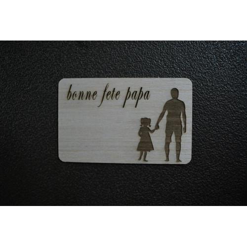 Carte postal bois gravé au laser fête des peres
