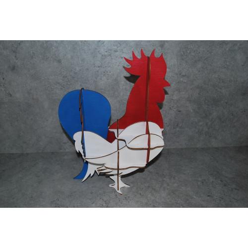 Coq tricolore, bleu blanc rouge en bois made in France