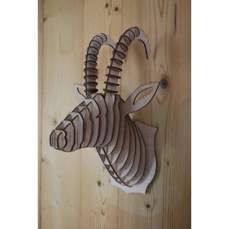 Tête de chamois en bois 38cm
