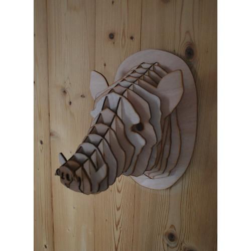 Wooden boar head 30cm