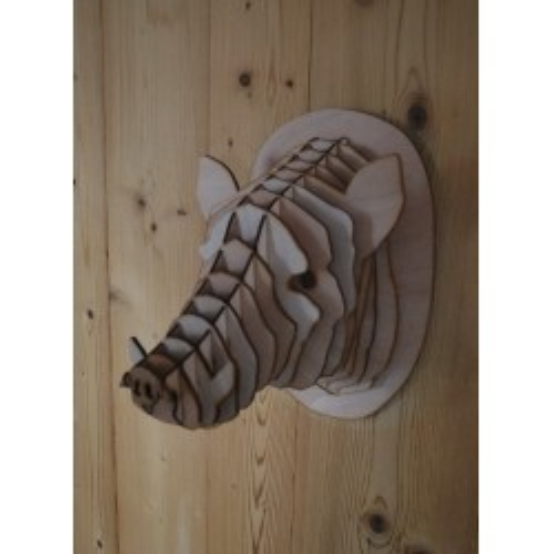 Tête de sanglier en bois 30cm
