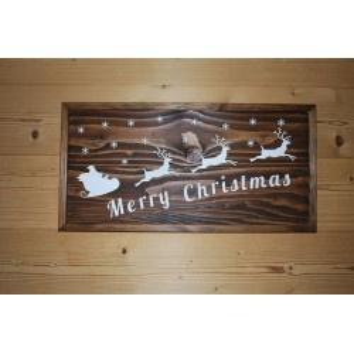 Tableau  noël,  merry christmas vintage en bois