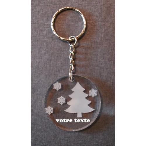 Porte-clefs personnalisable en verre synthétique motif rugby avec poteaux.