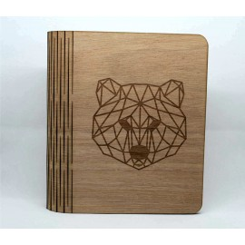 Libro / album fotografico in legno, personalizzabile, motivo orso, nascita bambino