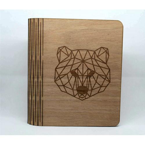 Wooden book / photo album, customizable, bear motif, child birth