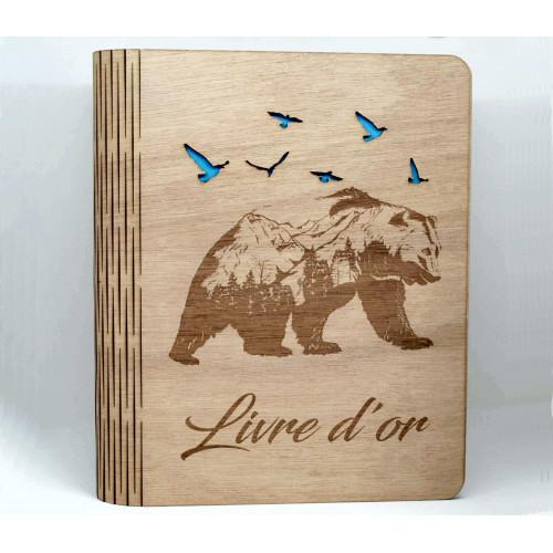 Livre en bois, livre d'or, motif ours découpé, personnalisable