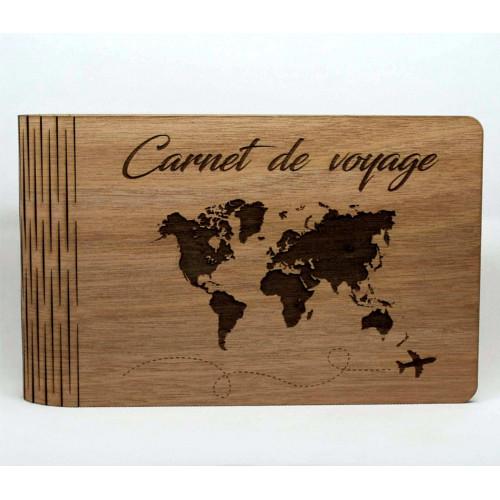travel diary, world map, wooden book / customizable photo album