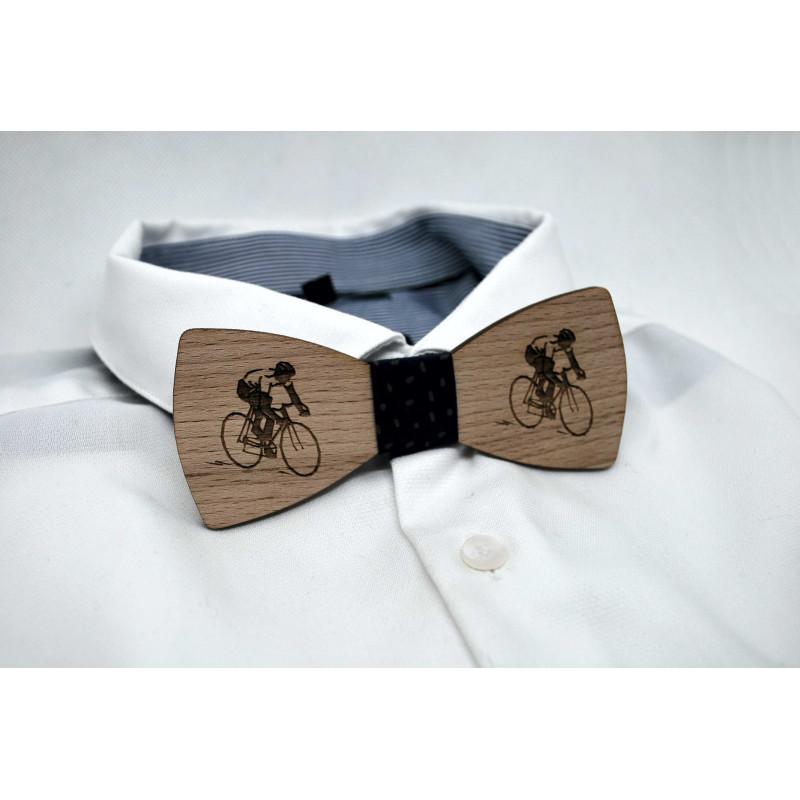 Nœud papillon en bois, motif vélo