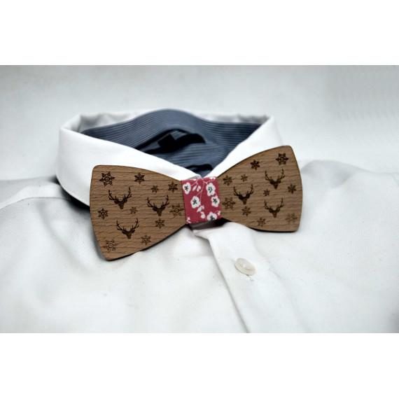 Bow tie in wood, deer and snowflake pattern