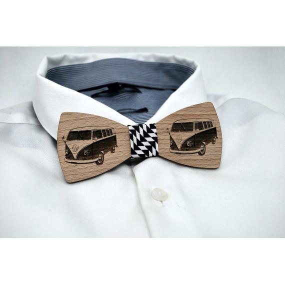 Bow tie in wood, vw combi motif