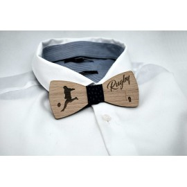 Bow tie in wood, rugby pattern