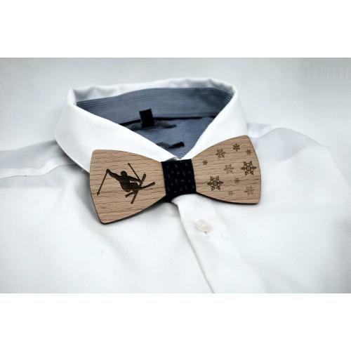 Ski motif wooden bow tie