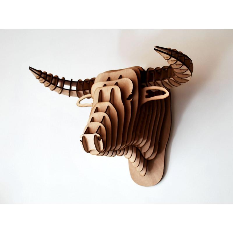 Wooden bull head 64 cm