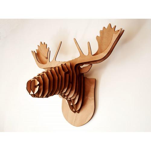 Tête de caribou, élan en bois 35 cm