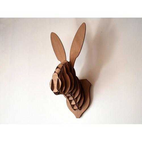 Tête de lapin en bois 45 cm