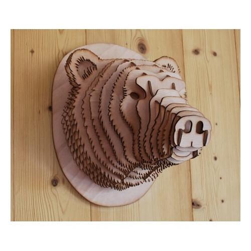 Cabeza de oso de madera 48 cm.