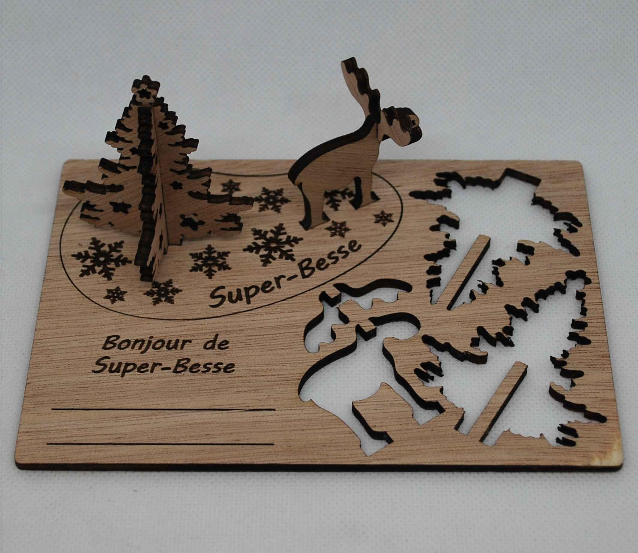 Carte postale 3d en bois