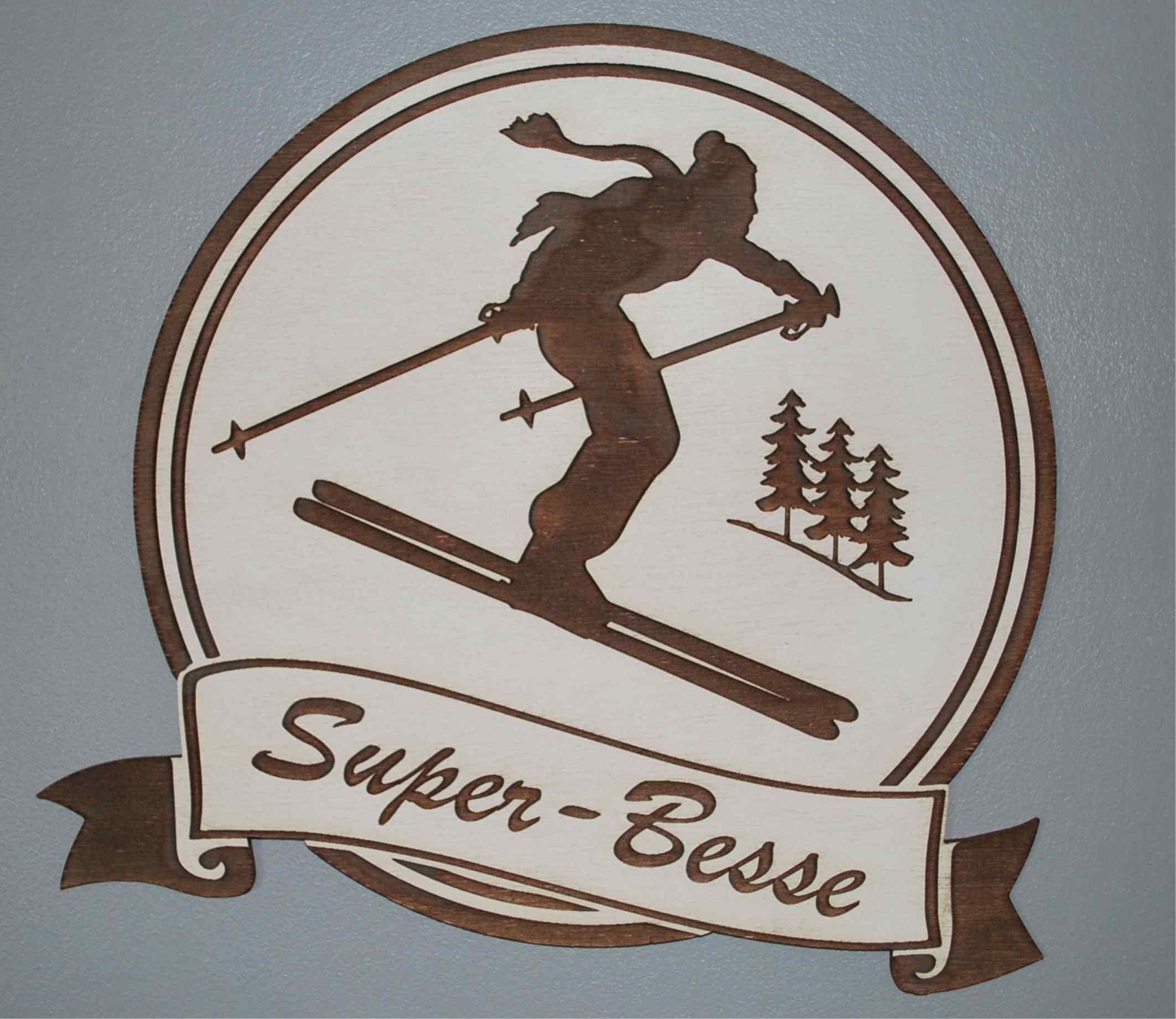 Décoration à suspendre 28 ou 15 cm ski