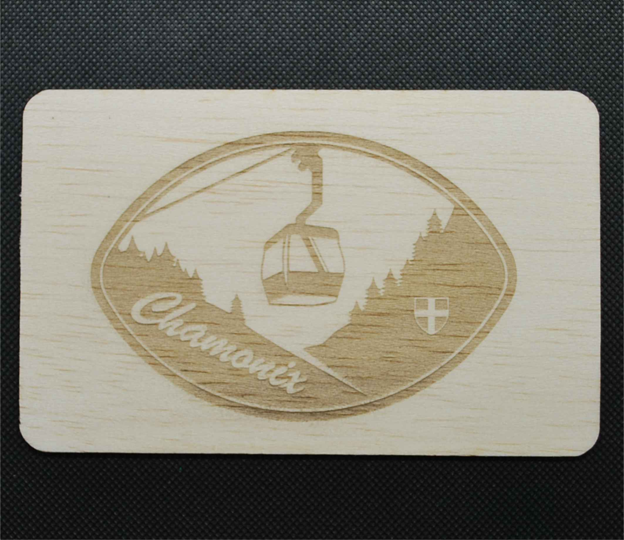 Carte postale en bois montagne
