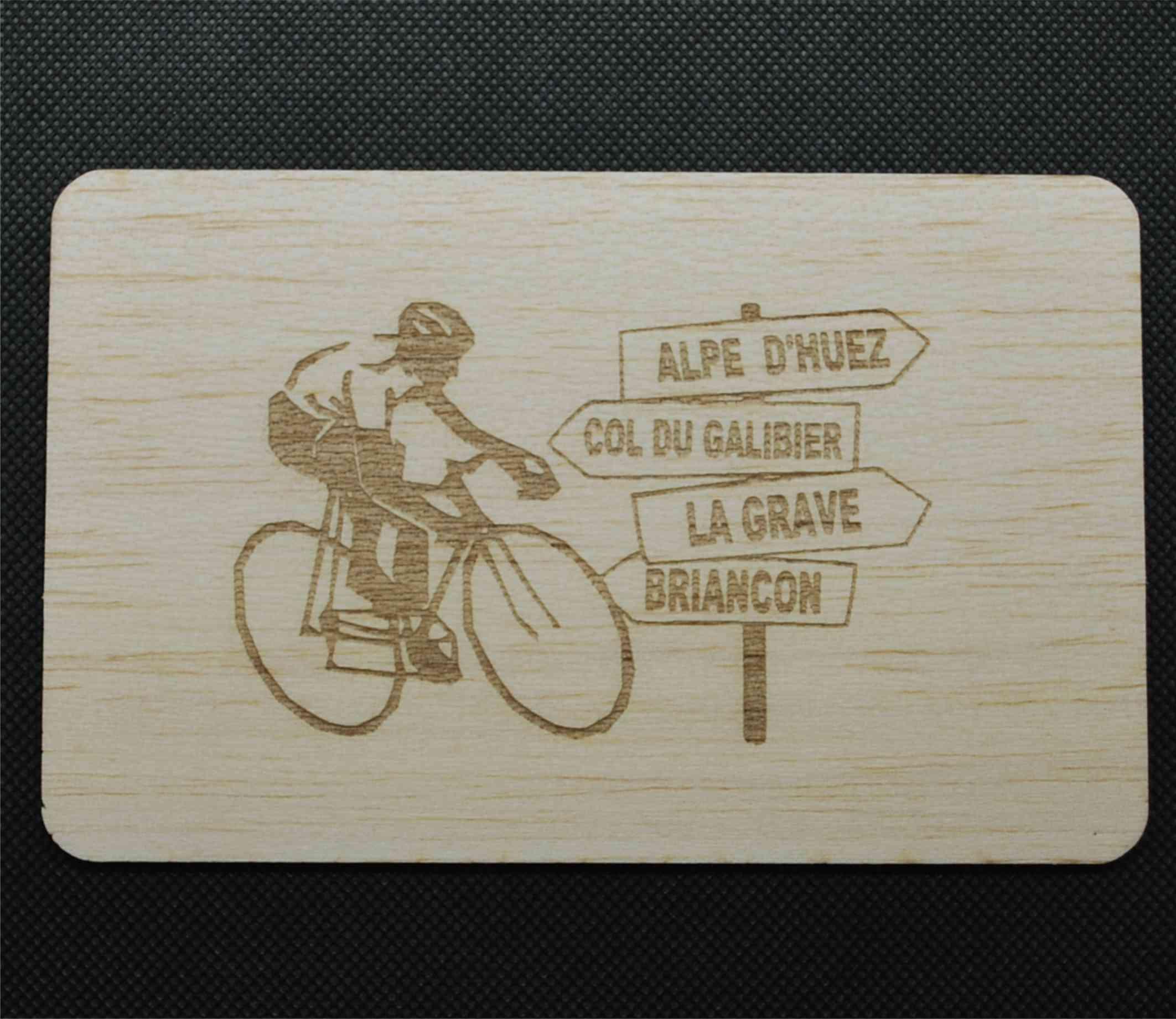 Carte postale en bois velo