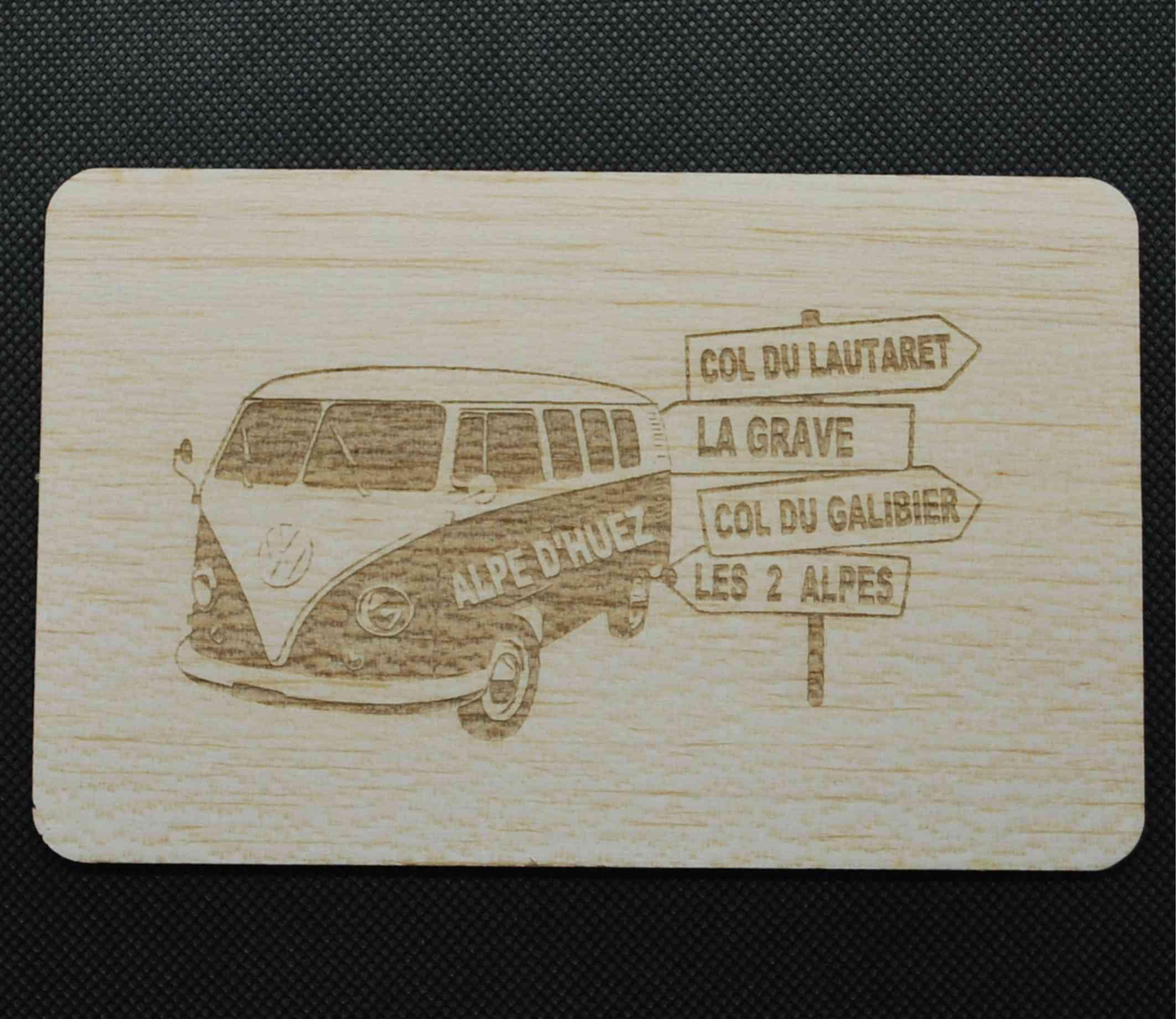 Carte postale en bois vw