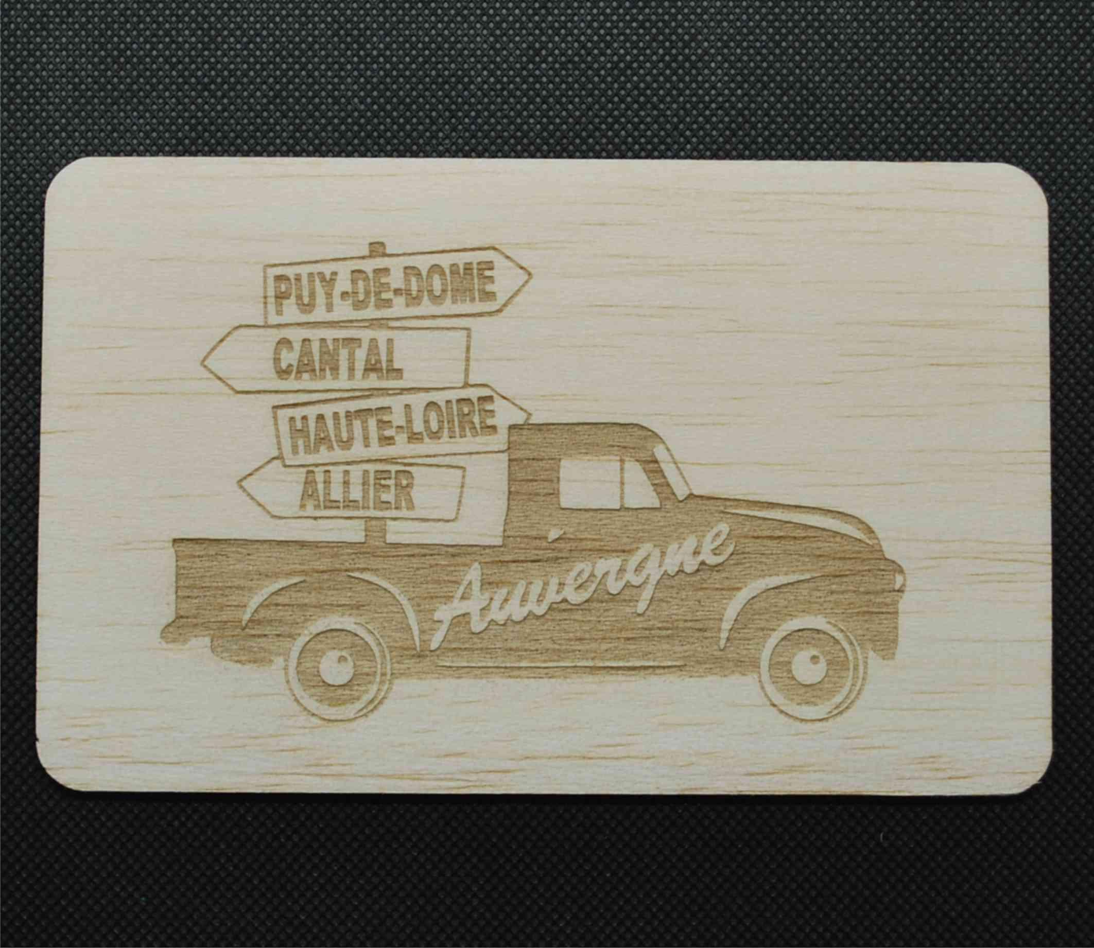 Carte postale en bois vintage