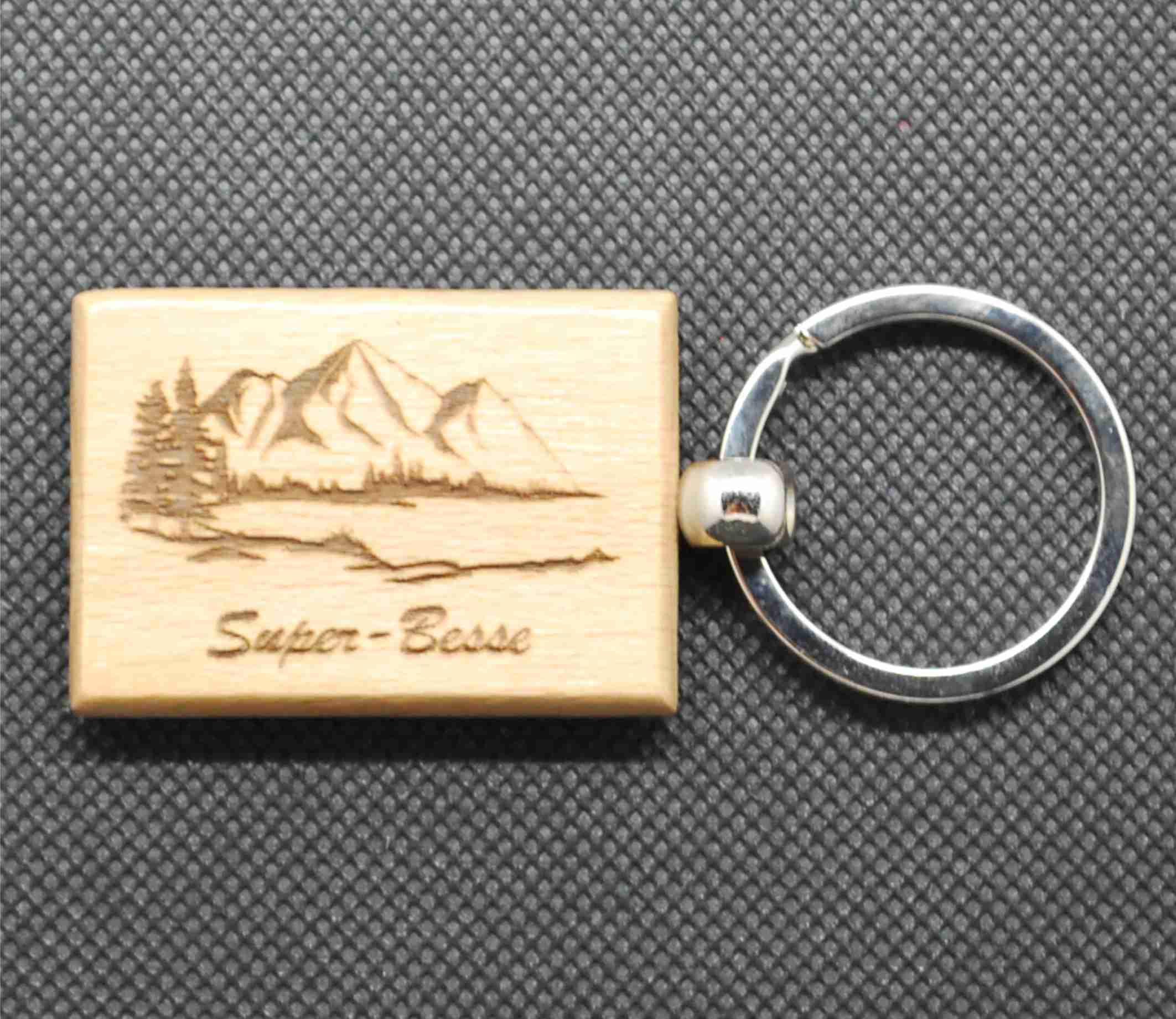 Porte-clefs en bois lac